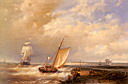 Oil painting reproduction of A Dutch Pink Heading Out To Sea With Shipping Beyond